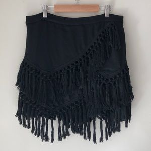 Endless Rose Black Asymmetrical Fringe Skirt